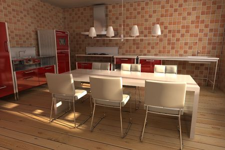 3d rendering interior of a modern dining room Stock Photo - 5522808
