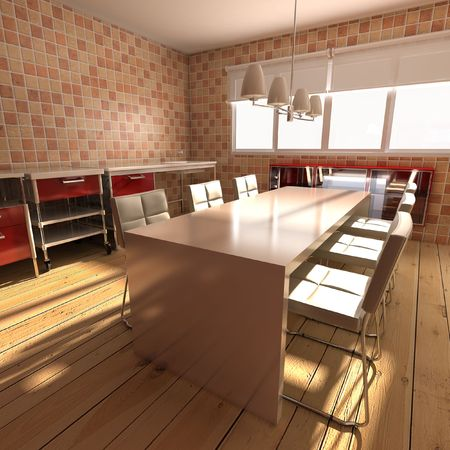 3d rendering interior of a modern dining room Stock Photo - 5522807