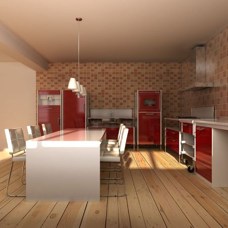 3D-Rendering Innere eines modernen Speisesaal