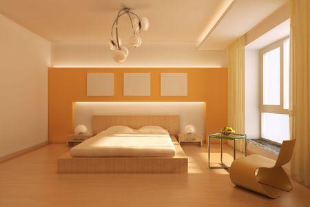 3D-Rendering-Innenraum ein modernes Schlafzimmer Standard-Bild
