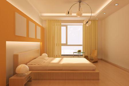 3d rendering interior of a modern bedroom photo