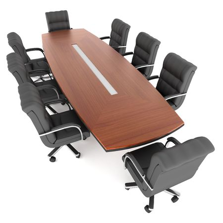 3d rendering conference table and office chair