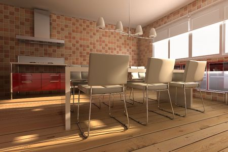 3d rendering inter of a modern dining room Stock Photo - 5557323