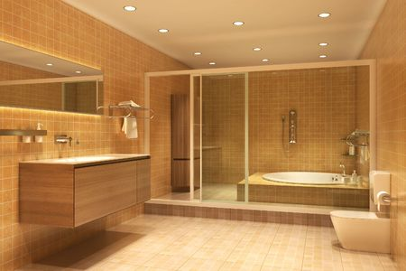 3d rendering interior of a bathroom photo
