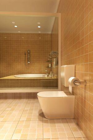 piastrelle bagno: 3d interior rendering di un bagno