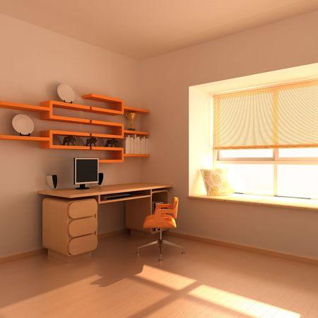 3d rendering interior of a study room Reklamní fotografie