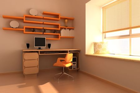 3d rendering interior of a study room Stock Photo