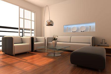 3d rendering interior of a modern living room