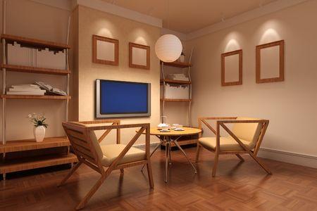 3D-Rendering-innen aus einem Wohnzimmer