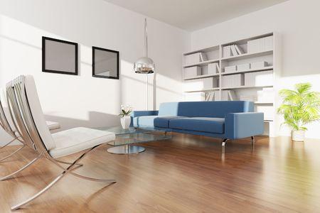 3D Rendering-Innenraum aus einem modernen Wohnzimmer Standard-Bild