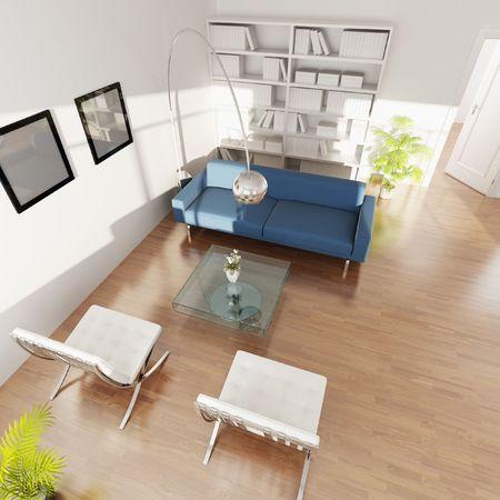 3D Rendering-Innenraum aus einem Wohnzimmer