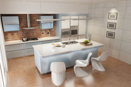 3d rendering interior of a modern kitchen Stock Photo - 5732414