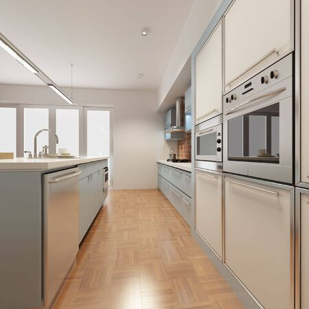 3d rendering interior of a modern kitchen photo