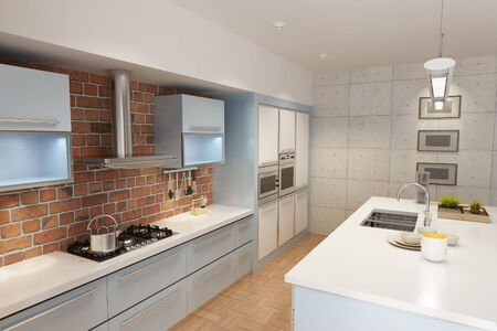 3d rendering interior of a modern kitchen Stock Photo
