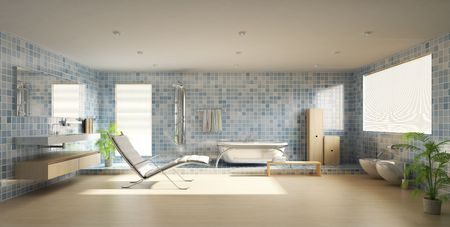 floor tiles: 3d rendering a modern bathroom