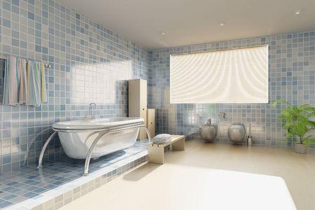3D rendering ein modernes Badezimmer