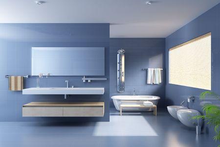 bathroom tiles: 3D rendering di un bagno moderno