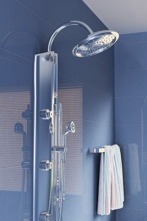 3D rendering: head shower in a modern bathroom.3d render