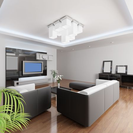 3d rendering a modern living room