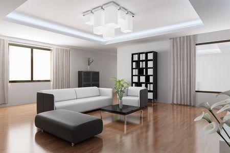 3D rendering einer modernen Wohnzimmer
