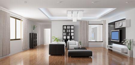 3D renderen van een moderne woonkamer