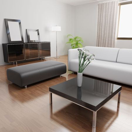 3d rendering a modern living room photo