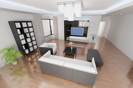 3d rendering a modern living room Stock Photo - 5861250