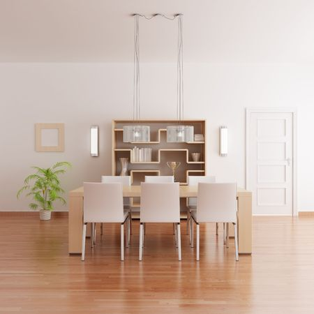 3d render interior of a modern dining room Stock Photo