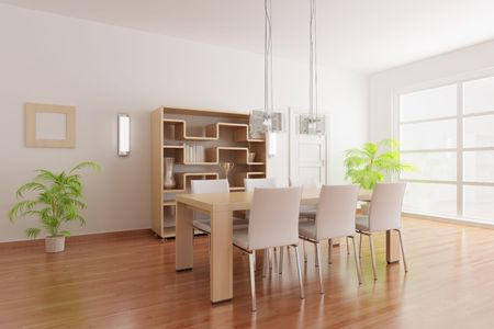 3d render interior of a modern dining room Stock Photo - 5981174