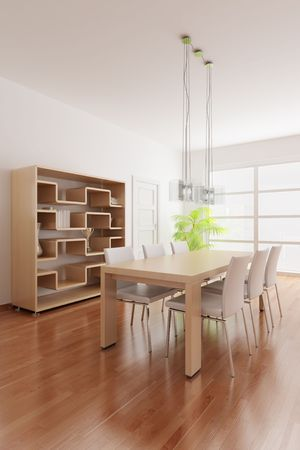 3d render interior of a modern dining room Stock Photo - 5981175