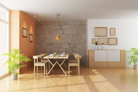 3d render interior of a modern dining room photo