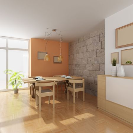 3d render inter of a modern dining room Stock Photo - 6006889