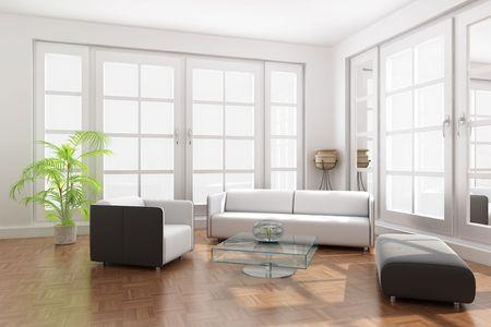 sala de estar: 3D de procesamiento interior, de una moderna sala de estar  Foto de archivo