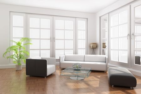 3d render interior of a modern living room photo