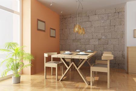 muebles de madera: interior de procesamiento 3D de un comedor moderno