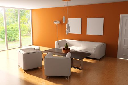modern living room.3d render.I am the auther of image which out of the window Stock Photo - 6836732