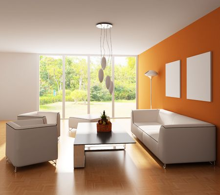 modern living room.3d render.I am the auther of image which out of the window photo