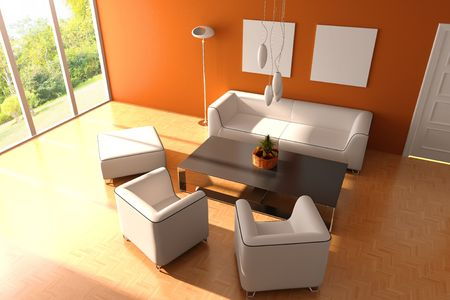 modern living room.3d render.I am the auther of image which out of the window Stock Photo - 6836788