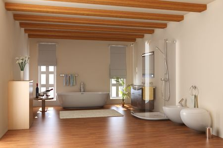 modern bathroom with bathtub and toilet.3d render Stock Photo - 6836888