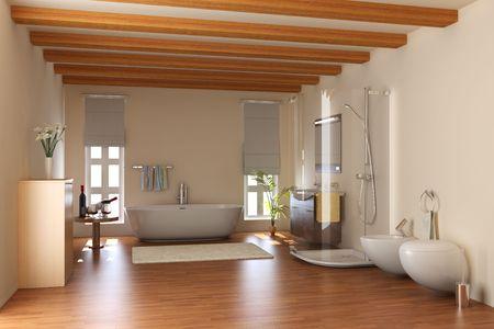 Rendern von modernen Badezimmer mit Badewanne und toilet.3d Standard-Bild