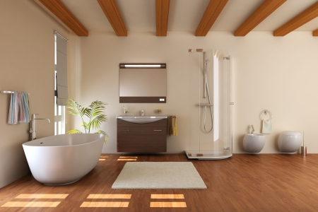 bathroom sink: modern bathroom with bathtub and toilet.3d render Stock Photo