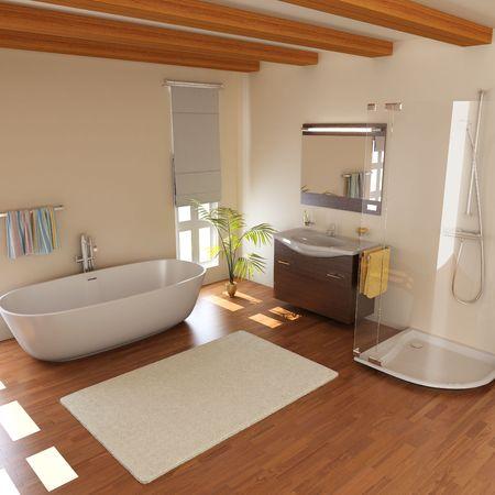 cuarto de ba�o: ba�o moderno con procesamiento de bathtub.3d