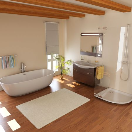 bathroom interior: modern bathroom with bathtub.3d render Stock Photo