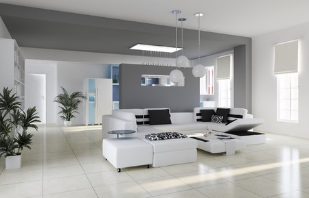modern living room.3d render photo