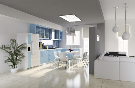 modern dining room.3d render photo