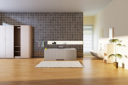 bathroom with modern style.3d render Stock Photo - 6978149