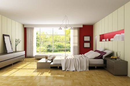 modern bedroom.3d render.I am the author of image which out of the window. Stock Photo - 6978151