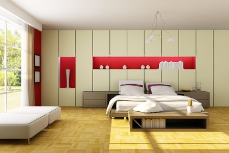 modern bedroom.3d render.I am the author of image which out of the window.
