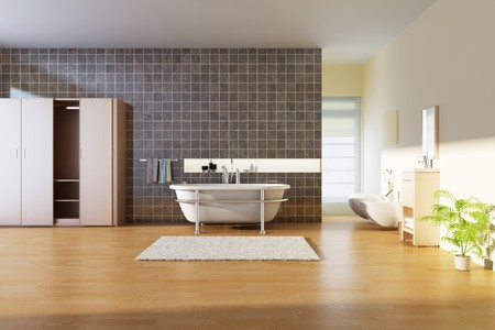 bathroom with modern style.3d render photo