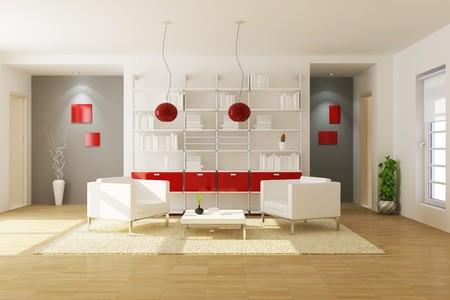 modern living room.3d render Reklamní fotografie